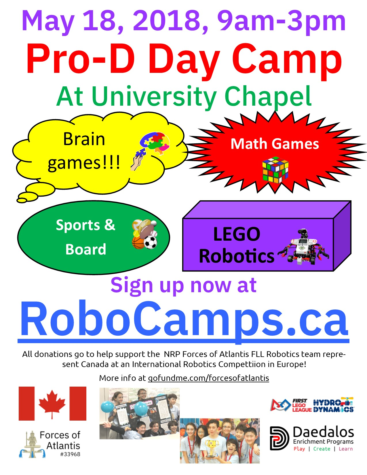 Pro-D Day Camp on May 18th at University Chapel – Brain Games, Math Games, Sports & Robotics!